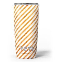 The Grunge Orange and White Slanted Lines - Skin Decal Vinyl Wrap Kit compatible with the Yeti Rambler Cooler Tumbler Cups