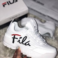 Fila High-soled casual couple's shoes, men's and women's shoes, small white shoes