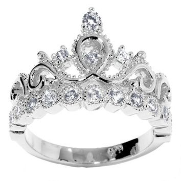 JewelsObsession's 14K Gold Princess Crown CZ Cubic Zirconia Ring (April Birthstone)