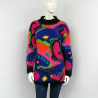 Vintage 80s Colorful Mohair Sweater, Geometric Sweater, Ugly Sweater, Tacky Sweater, Oversized Sweater, Long Sweater, Chunky Knit Sweater