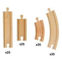 100 Pieces of Bulk Wooden Train Track by Conductor Carl. Compatible with All Major Brands Including Thomas The Tank Engine