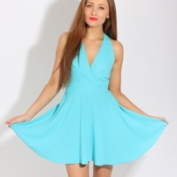 LOVE Turquoise Wrap Front Skater Dress