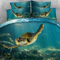 Cool JF079 Ocean and Turtle print 5pcs couette kids adult Double queen King size comforter setsAT_93_12