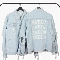 Mens Jeans Jacket Kanye West Pablo Jacket Streetwear Fashion Cotton Denim Slim Short Jacket Hip Hop Yeezy Season 3 Yeezus Coat
