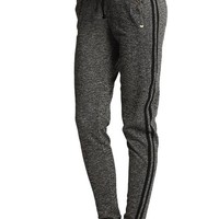 TheMogan Women's Marled Fleece Jogger Sweat Pants - Black - Small