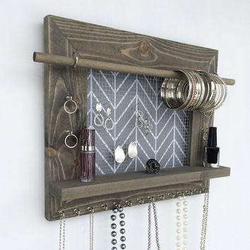 Jewelry Organizer Wood Wall Hanging Display Holder Necklace Earring Storage Jewlery Organization Frame With Shelf FREE SHIPPING