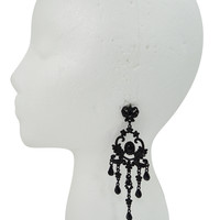 Victorian Gothic Black Beaded Chandelier Cocktail Party Evening Earrings