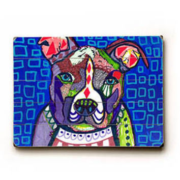 Colorful Pitbull by Artist Heather Diamond Wood Sign