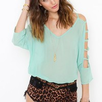 Chiffon Cutout Blouse - Mint in  What's New at Nasty Gal