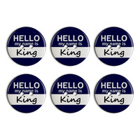 King Hello My Name Is Plastic Resin Button Set of 6
