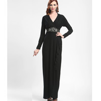 Sue Wong 2014 Dresses - Black Chiffon Long Sleeve Evening Gown