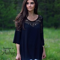 Black Blouse with Sheer Lace Detail on Neckline and Shoulders by Jodifl