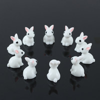 10pcs Miniature Rabbits Resin White Ornament DIY Landscaping Miniature Fairy Garden Decoration Doll House Terrarium Decor Toys