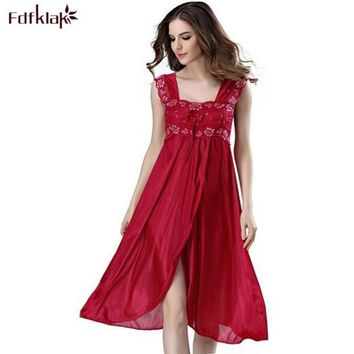 Summer Dress 2018 Lace Sleeveless Lingerie Sexy Women Nightwear Silk Night Gowns Satin Nightgown Sleepwear Red/Black Pink Q134