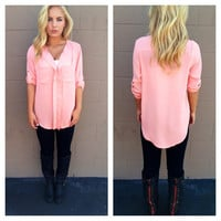 Coral 3/4 Sleeve Double Pocket Blouse