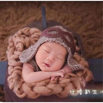 Tan Aviator Knit Baby Newborn Hat Photo Prop