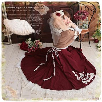 Lolita Style Mori Girl Underskirt Solid Color Cotton Lace All-Match Basic Skirt Lady Cute Saia
