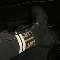 Fendi women's F letter color-block knitted stretch boots