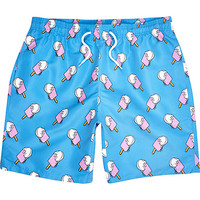 River Island MensBlue ice cream print mid length swim trunks