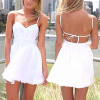 New Vintage Womens Straps Sexy Shorts Jumpsuit Hot Pants Playsuit Shorts Whites