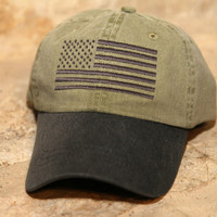 KHAKI/CHARCOAL Special Forces Operator Tactical American US Flag Hat