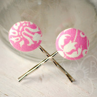 Pink Frosting fabric button bobby pins from VioletsBuds
