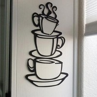 Large Coffee Cup Stickers Wall Decor for Kitchen
