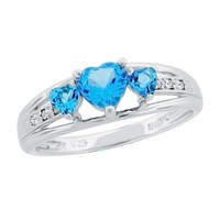 Blue Topaz Heart Sterling Silver Diamond Accent Birthstone Ring - S...