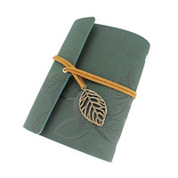 Dernord Vintage PU Leather Cover Loose Leaf String Blank Notebook Notepad Journal Diary Gift Art Sketchbooks Dark Green