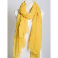 Lightweight Mustard Yellow Frayed Scarf