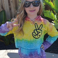 Tie Dye - Kids Peace Hooded Sweatshirt  - Tye Dyed Sweatshirt - Ruffles with Love