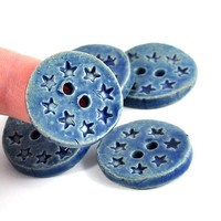 Handmade Ceramic Buttons-- Blue Daisy Flower Imprinted Pattern-- Round and Rustic -- Set of Six by DeeDeeDeesigns