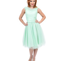 Unique Vintage 1950s Style Mint First Date Swing Dress