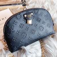 Hipgirls LV Louis Vuitton New fashion monogram leather shaped shoulder bag crossbody bag Black