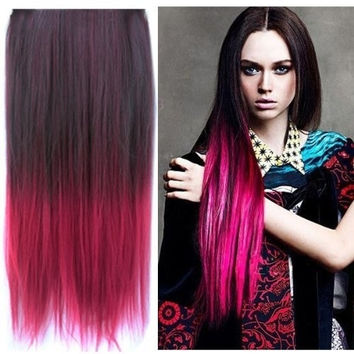 Acesale Fashionable Multicolor Gradually Varied One Piece Straight Ombre Synthetic Clip in Hair Extensions Black to Wine Red = 1958158724