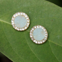 Zen Druzy & CZ Stud Earrings
