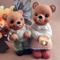Bears Roasting Hot Dogs Cookout Figurine Vintage 1980s Homco Porcelain Home Decor FREE SHIPPING