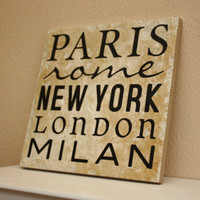 Word Art Decorative Tile  Word Collage  Paris  by TheBeautifulHome