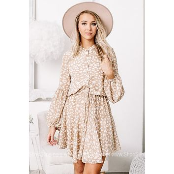 Take A Crazy Chance Neutral Spotted Dress