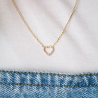GOLD OPEN CRYSTAL HEART NECKLACE