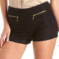 High Waisted Zip-Pocket Lace Short: Charlotte Russe