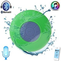 WFY-MALL(TM) Mini Portable Waterproof Wireless Bluetooth Stereo Speaker with Suction Cup for Showers, Bathroom, Pool, Boat, Car, Beach, Outdoor etc. Compatible with All Bluetooth-enabled Devices, iPhone 5S/5/4S and All Android Devices (Green)