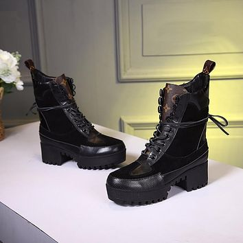 lv louis vuitton trending womens black leather side zip lace up ankle boots shoes high boots 321