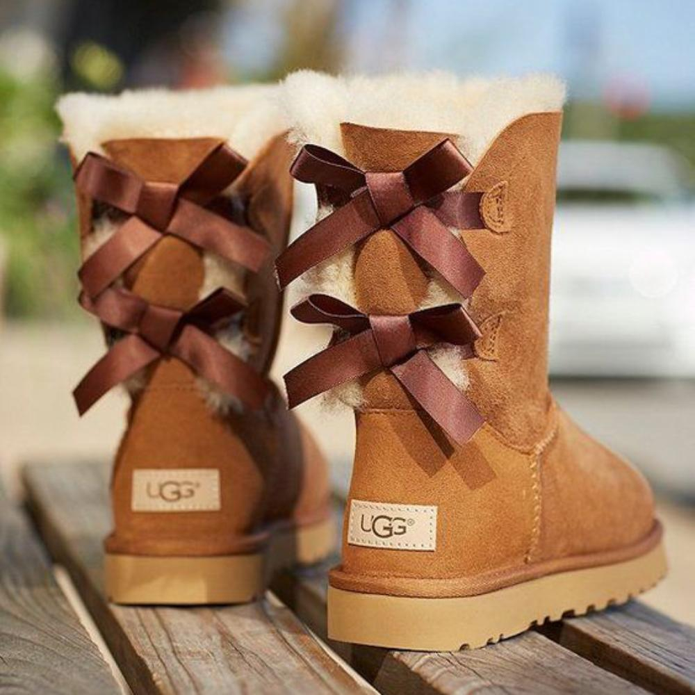 Image of UGG Bow Leather Shoes Boots Winter Half Boots Boots Shoes