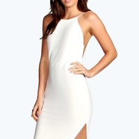 Lydia Crepe Low Back Midi Bodycon Dress