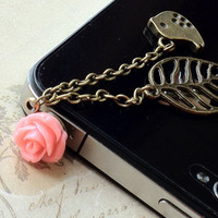 1 Piece of 3.5 mm Antique Bronze Iphone 4, 4S, Samsung Dustproof Ear Plug with Resin Flower and Charms (.chg)