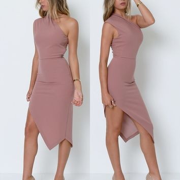 Best Ever One-Shoulder Dress - Nude