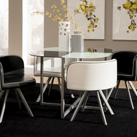 5 pc Trussell collection black and white finish glass top dining table set with silver metal legs5 pc Trussell collection black and white finish glass top dining table set with silver metal legs