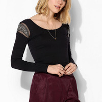 Sparkle & Fade Embellished Shoulder Cropped Top - Urban Outfitters