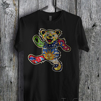Coloured Grateful Dead Dancing Bear  - zzz Unisex Tees For Man And Woman / T-Shirts / Custom T-Shirts / Tee / T-Shirt